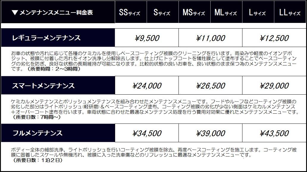 新メンテナンス料金表2